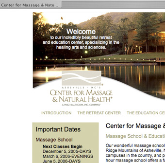 Center for Massage and Natural Health website
