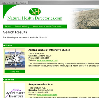 Natural Health Directories website