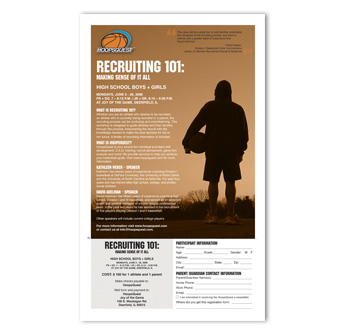 HoopsQuest Recruiting 101 flyer